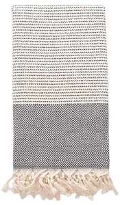 Hand-woven 100% Cotton Turkish Towel Throw - Dark Grey