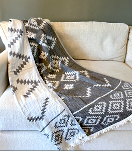TURKISH TOWEL-GREY PATTERN