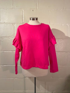 Ruffle Arm Sweatshirt in Pink