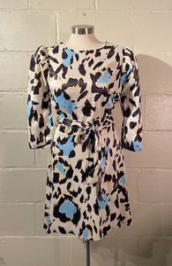 Blue and Yellow Animal Print Dress