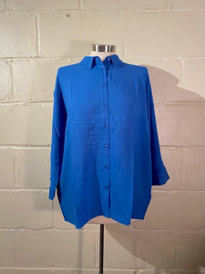 Casual Electric Blue Shirt 3/4 Sleeve