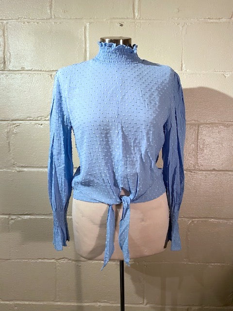 Light Blue Tie Front Long Sleeve Top