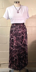 Satin Printed Long Skirt