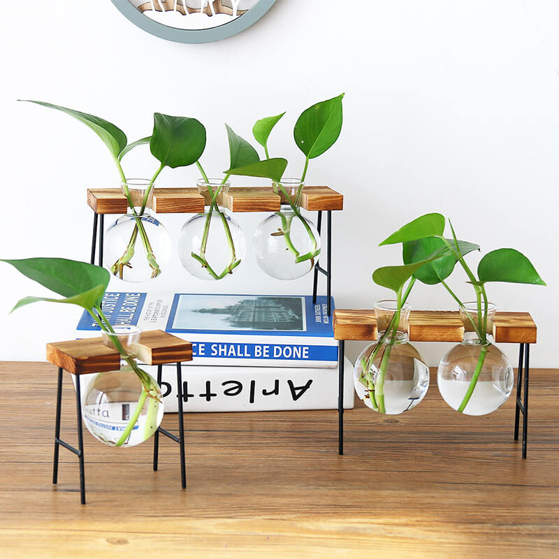Wooden Stand Hydroponic Planter Decor