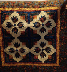 "Kathy's Quilts Bear Paw Log Cabin 53"" X 53"""