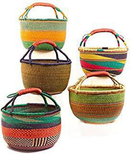 Overseas Ghana Woven Round Basket W/Leather Handles