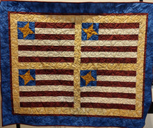 Load image into Gallery viewer, Kathy's Quilts Stars and Stripes Red Blue Gold