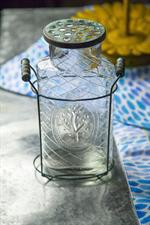 Manual Glass Flower Jar Turq Lg