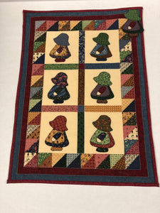 Kathy's Quilts Girls With Hats Wall Hanging