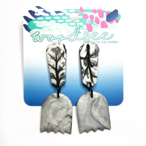 Printed Polymer - Pearl & Marble  Intaglio Dangles
