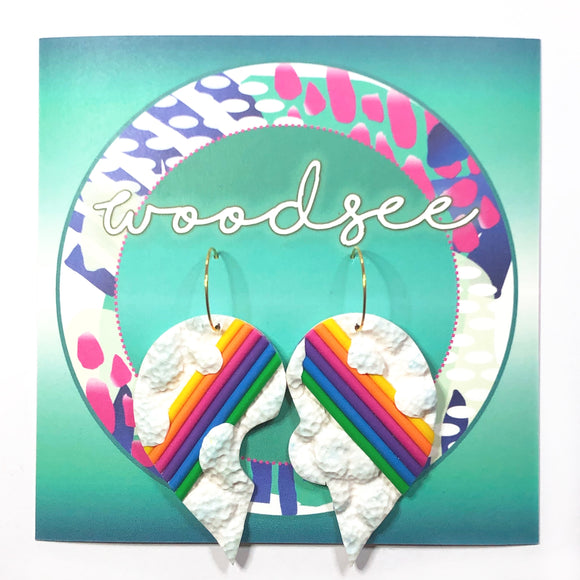 This Goes With That - Rainbow Cloud Heart Hoops