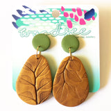 Printed Polymer - Antique Gold Intaglio Dangles
