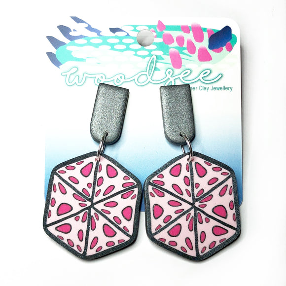Cane Make This - Pink Polka Dot Hexagonal Dangles