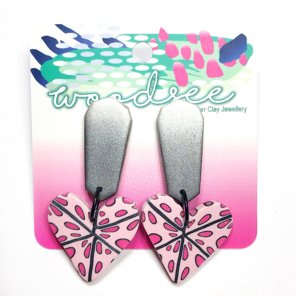 Cane Make This - Pink Polka Dot Heart Dangles