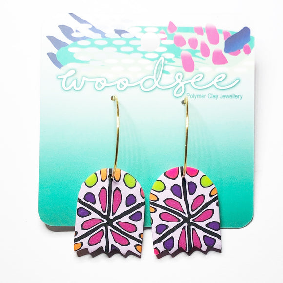 Cane Make This - Purple Polka Dot Bloom Hoops