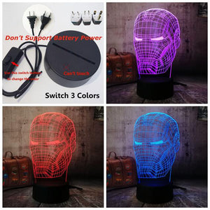 Cool 3D LED Iron Man Light Night Desk Table Lamp RGB 7 Color Change Flashlight USB RGB Controler Luminaria Switch Toy Kids Gift