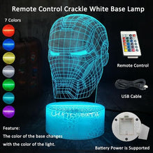 Load image into Gallery viewer, Cool 3D LED Iron Man Light Night Desk Table Lamp RGB 7 Color Change Flashlight USB RGB Controler Luminaria Switch Toy Kids Gift