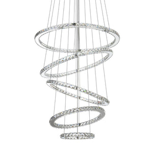 MEEROSEE LED Crystal Chandelier Light Modern Ceiling Lamp Fixture Hanging Lustres 5 Rings Lighting Home Decoration