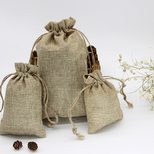 Vintage Retro Drawstring Jute Burlap Gift Bags Wedding Birthday Party Christmas Halloween Gift Wrapping Hessian Hemp Bags