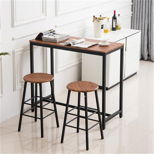 Wood Grain Bar Table & 2 Stools
