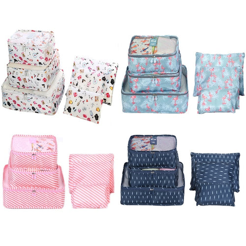 6pcs/set Luggage Suitcase Organizer Travel Storage Bags Mesh Cloth Packing Cubes Clothes Underwear Laundry Bag Flamingos