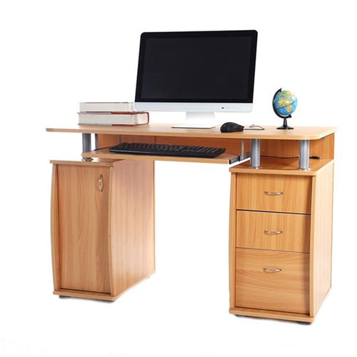 MDF Computer Desk Portable 1pc Door with 3pcs Drawers Computer Desk Wood Color Computer Table