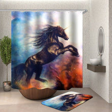 Load image into Gallery viewer, Horse shower curtain With Hooks  fabric Animal 3d bathroom shower curtains bathroom curtain hooks waterproof Curtain Or Mat