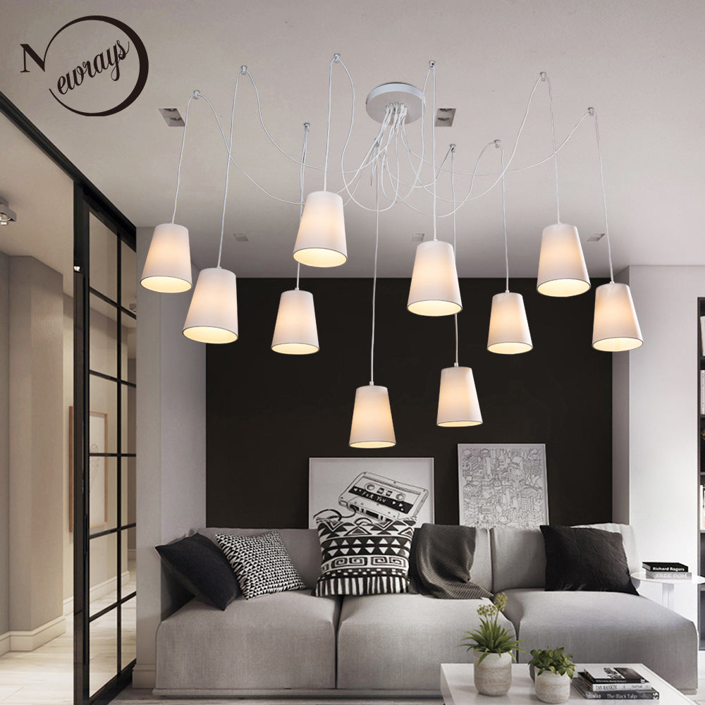 Modern Fashion large spider braided chandeliers white black fabric shades 10 lights Hanging Clusters ceiling lamp living room