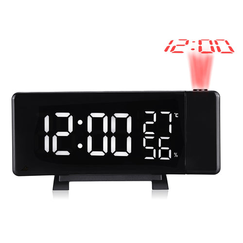 Digital Radio Alarm Clock Projection Snooze Time Temperature LED Display USB Charge Cable 110 Degree Table Wall FM Radio Clock
