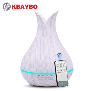 KBAYBO 400ml Diffusers for Essential Oils Aroma Cool Mist Ultrasonic Humidifier Oil Diffuser Wood Grain with 7-Color LED Light