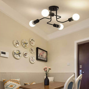 Simple Ceiling Lights For Home Lighting Luminaire Multiple Rod Wrought Iron Ceiling Lamp E27 Bulb Living Room(No Bulb)