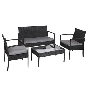 4 PCS Outdoor Patio Rattan Wicker Furniture Set with Table Sofa Cushioned Black Garden chairs