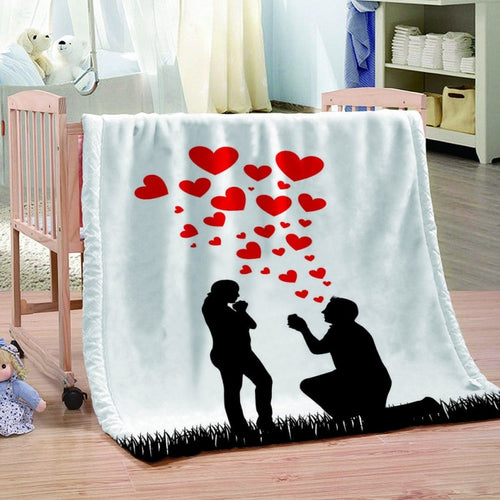 All Season My Love Flannel Blanket Lightweight Cozy Plush Throws Couch Sofa Bedding Blankets For Adults Children Home Supplies