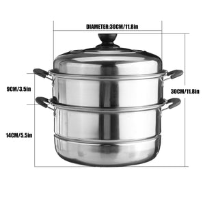 28CM/30CM Stainless Steel pot Three layer Soup Pot Nonmagnetic Cooking Multi purpose Cookware Non stick Pan induction cooker pot