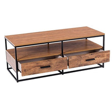 "Load image into Gallery viewer, 47"" 2-Tier Cocktail 2 Drawer Coffee Table Metal Desk High Quality Sofa Table HW59331"