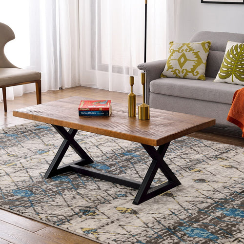 New Nature Wood Coffee Table Easy Assembly Tea Table Rustic Industrial Cocktail Table for Living Room with X-Shaped Metal Frame