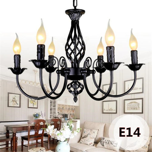 Retro Industrial Chandelier  European Wrought Iron Light