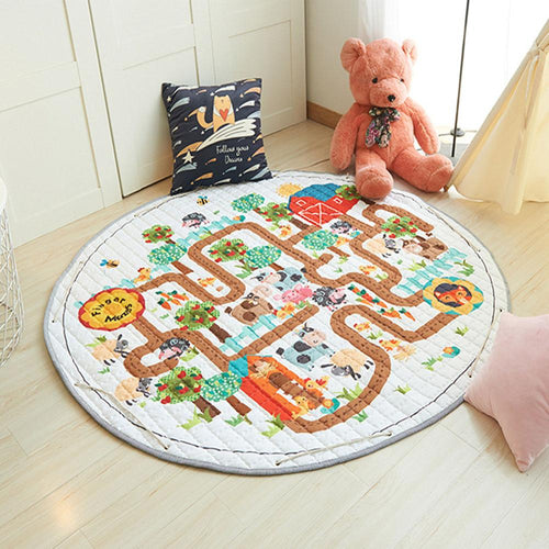 Cartoon Animals Baby Play Mat Foldable Kids Crawling Blanket Pad Round Carpet Rug Toys Storage Bag Cotton Children Room Decor