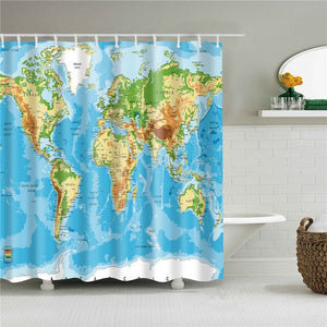 Decorative World Map Animals Shell Scenic Seaside Shower Curtains Bathroom Curtain Frabic Waterproof Polyester Home Decoration