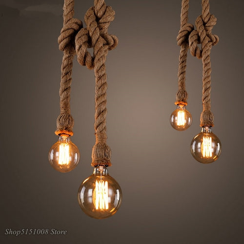 Retro Hemp Rope Pendant Lights