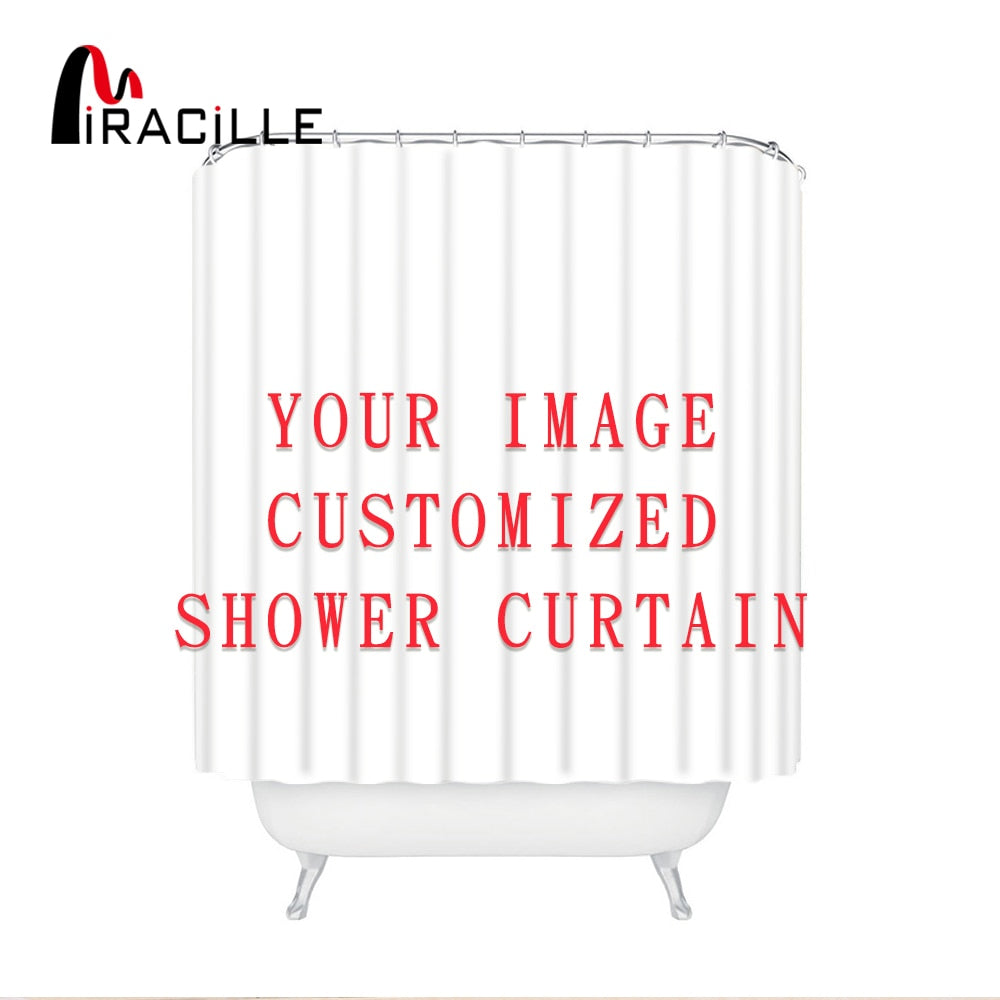 Miracille Customized Shower Curtains Bath Decor Curtain Funny Image Waterproof Polyester Fabric Bathroom Blinds with 12 Hooks