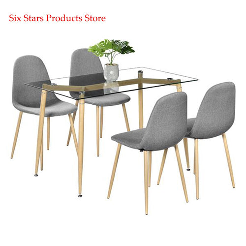 Simple Wood Grain Table Leg & Transparent Tempered Glass Dinner Table Minimalist Coffee Table Side Furniture Living Room Table