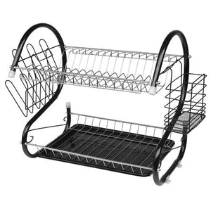 2 Tiers Kitchen Dish Cup Drying Rack Drainer Dryer Tray Cultery Holder Organizer US Warehouse Drop Shipping Available