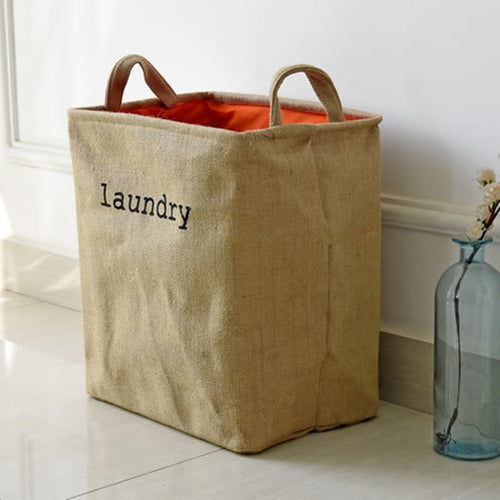 Jute thicker lining dry cleaner Multi-function Storage Clothes Bag Dirty Laundry Kids Toys Living Room Sundries Basket