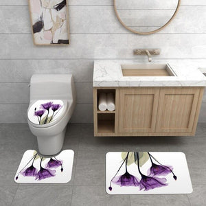 1 /3 / 4 Pcs / Set Of Bathroom Shower Curtain And Base Carpet And Lid Toilet Lid And Bath Mat Bathroom Accessories
