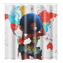 Load image into Gallery viewer, 3D African Girl Waterproof Shower Curtain Bathroom Bath Mat Set Pedestal Non-Slip Rugs Lid Toilet Cover 1/3/4 Pcs/Set