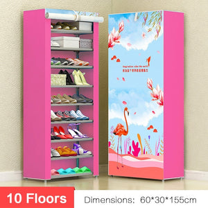 10 floors Shoes Storage Cabinet Organizer Shelf Household Shelves Closet Shoe Storage DIY Shoe Rack with Dustproof Cover