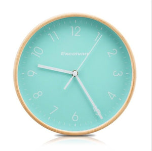 "Excelvan 8"" Wooden Wall Clock Quartz Silent Sweep Movement Clock No-ticking HD Glass Morden Home Wood Clock Green and White"