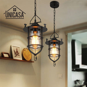 Modern Pendant Lights Glass Shade Wrought Iron Bar Lighting Fixtures Kitchen Island Office Hotel Antique Mini Ceiling Lamp