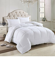 Load image into Gallery viewer, Solid White Home Double Fill Down Alternative Comforter Microfiber Cover Medium Weight for All Season
